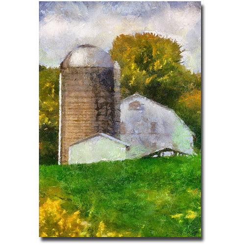 "Trademark Fine Art ""Barn and Silo"" Canvas Wall Art by Lois Bryan"