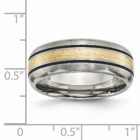 Titanium Grooved 14k Yellow Inlay 8mm Brushed Wedding Ring Band Size 9.00 Precious Metal Fine Jewelry For Women Gifts For Her - image 10 de 10