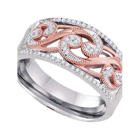 10kt Two-tone Gold Womens Round Diamond Filigree Band Ring 1/5 Cttw - image 1 de 1