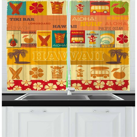 Tiki Bar Curtains 2 Panels Set, Retro Travel Cards Collection Holiday in Hawaii Icons Summer Season Vintage Print, Window Drapes for Living Room Bedroom, 55W X 39L Inches, Multicolor, by Ambesonne (Retro Hawaiian Decor)
