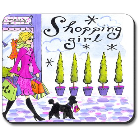 Art Plates Mouse Pad - Shopping Girl - Girl Art Mouse Pad