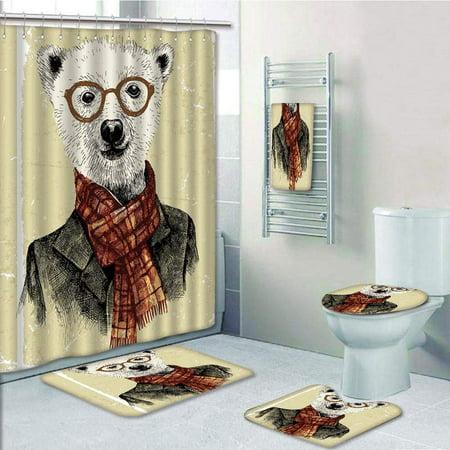 PRTAU Animal Hipster Bear with Glasses Scarf Jacket Wild Mammal Humorous Dark 5 Piece Bathroom Set Shower Curtain Bath Towel Bath Rug Contour Mat and Toilet Lid Cover