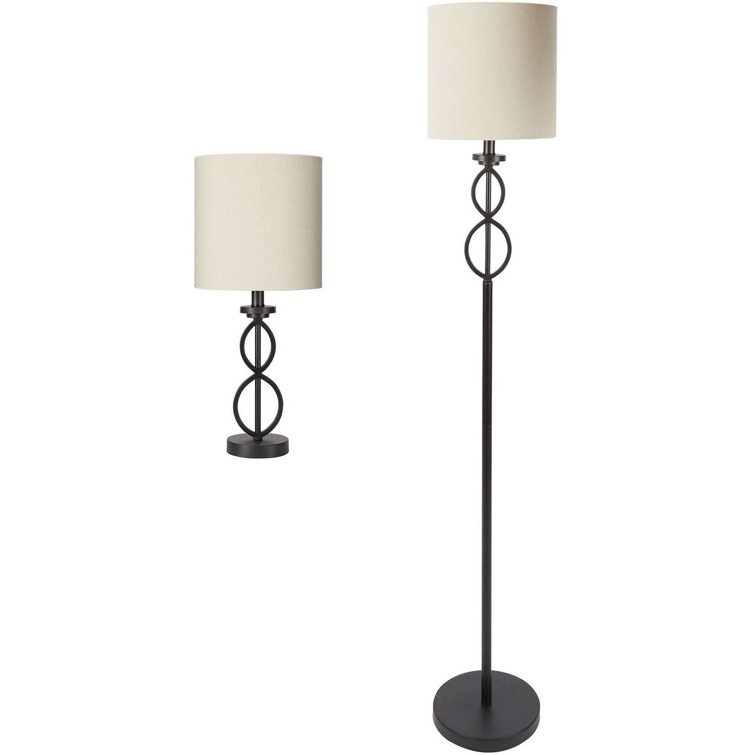 Mainstays Table And Floor Lamp Set Black Matte Finish Walmart Com