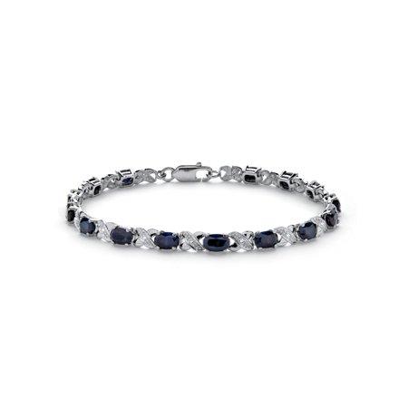 8.40 TCW Genuine Midnight Blue Sapphire Platinum over Sterling Silver