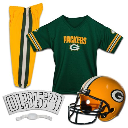 Franklin Sports NFL Green Bay Packers Youth Licensed Deluxe Uniform Set, Medium - Packers Uniforms