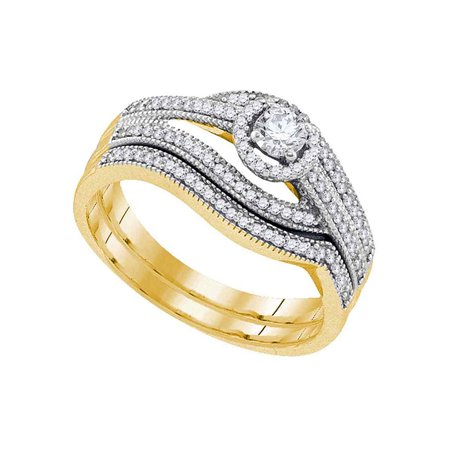 10kt Yellow Gold Womens Round Diamond Halo Bridal Wedding Engagement Ring Band Set 3/8 Cttw - image 1 of 1