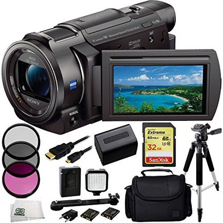Sony 4K HD Video Recording FDRAX33 FDR-AX33 Handycam Camcorder + 32GB Bundle 10PC Accessory Kit Includes SanDisk