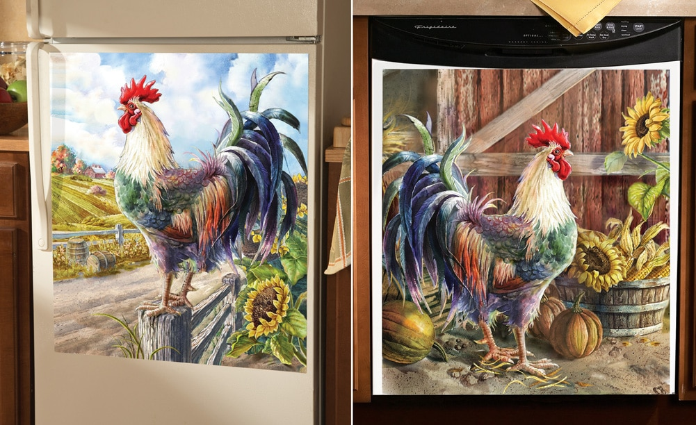 Farmyard Rooster Kitchen Decorative Magnets, Dishwasher, Multi
