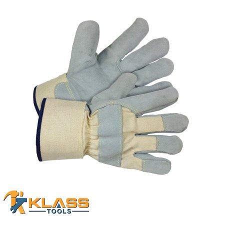 KlassTools Series 0070 Cut and Heat Resistant Grey Split Leather Gloves. (Sold in Pairs) (Set of 1) ()