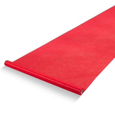 Red Runway Carpet (Red Carpet Runner - Aisle Runner - Essential Hollywood and Christmas Party Decoration, Runway Rug, Suitable for Indoor or Outdoor Party Decoration - Red, 3 x 100 Feet (40gsm)