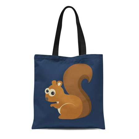 KDAGR Canvas Tote Bag Brown Cartoon of Funny Squirrel on Blue Chipmunk Adorable Reusable Shoulder Grocery Shopping Bags Handbag ()