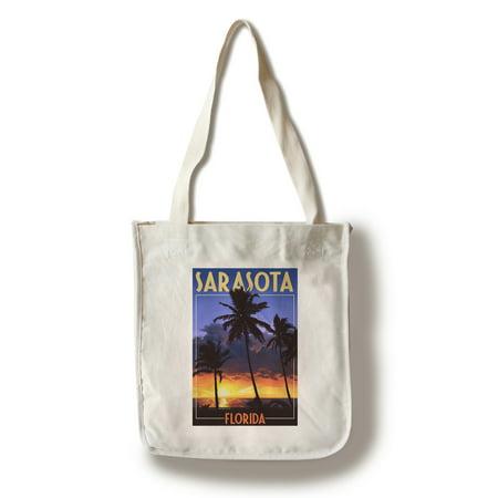 Sarasota, Florida - Palms & Sunset - Lantern Press Artwork (100% Cotton Tote Bag - (Sarasota Women)