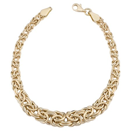 - 14k Yellow Gold Graduated Byzantine Womens Bracelet, 7.5