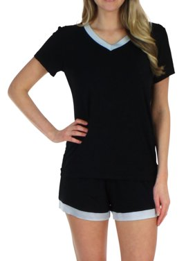 215ee240a52905 Product Image Pajama Heaven Women s Sleepwear Bamboo Jersey V-Neck Top and Shorts  Pajama Set With Satin