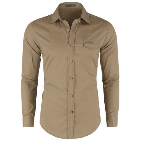 Doublju Men's Basic Solid Long Sleeve Cotton Button Down Collar -