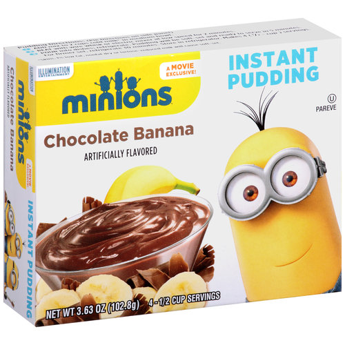 (4 Pack) Minions Chocolate Banana Instant Pudding, 3.63 oz