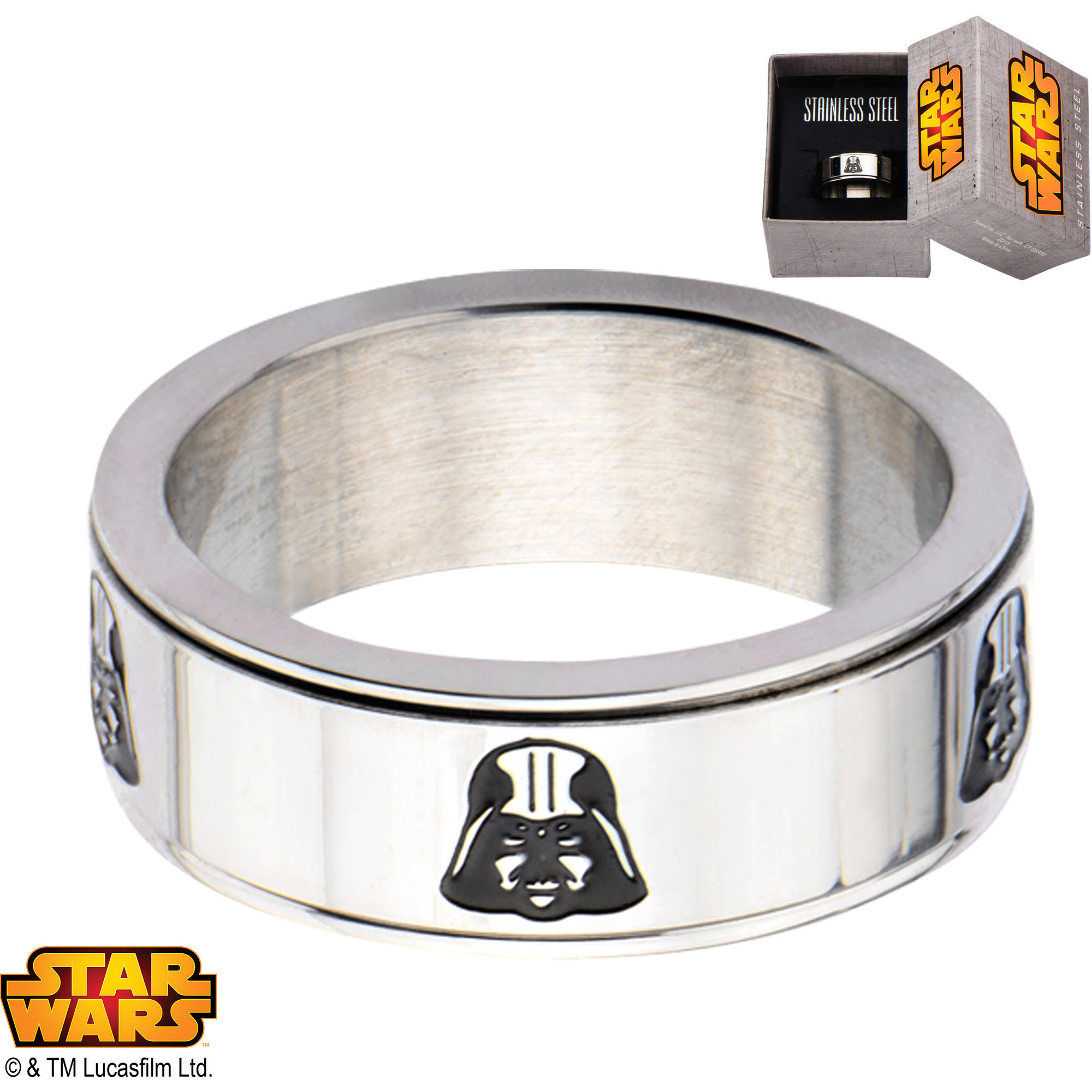 Disney Star Wars Men's Stainless Steel Darth Vader Spinner Ring, Sizes 8-12