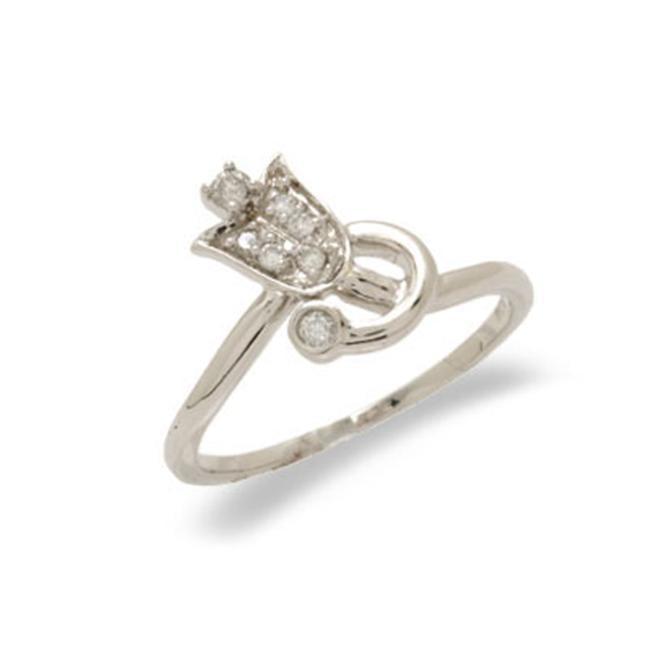 14K White Gold Diamond Ring Size 6. 25