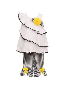 Bonnie Jean Little Girls Black White Checkered Flower 2 Pc Pant Outfit