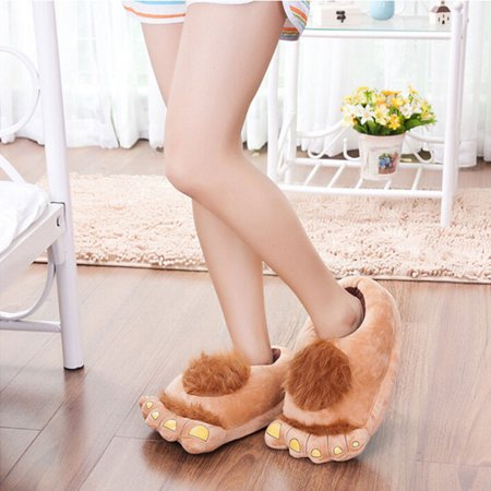 Big Foot Furry Plush Slippers Warm Comfy Gift