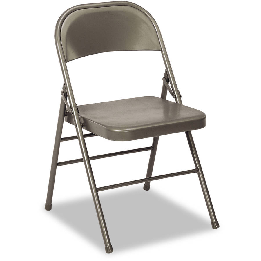 Cosco 60-810 Series All Steel Folding Chairs, Dark Grey, 4/Carton