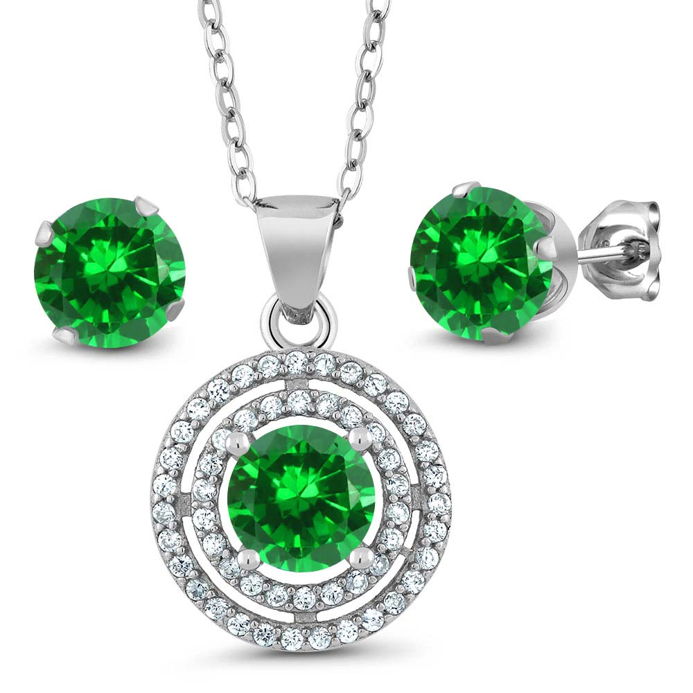 "3.00 Ct Round 6mm Simulated Emerald 925 Sterling Silver Pendant Earrings Set with 18"" Silver Chain"
