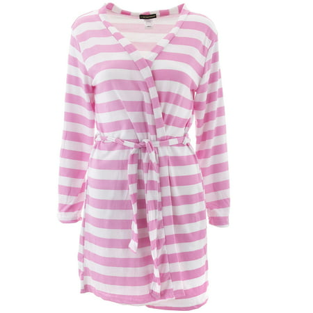 Not A Morning Person Juniors Pink Striped Brushed Knit (Striped Bath Robe)
