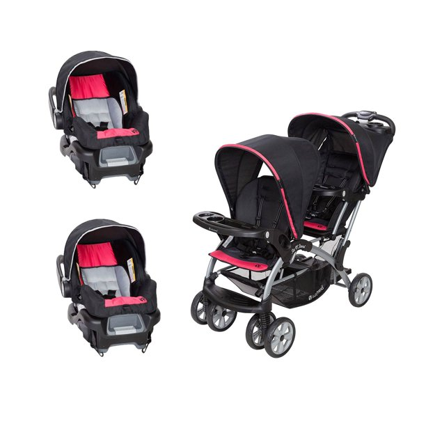 Baby Trend Sit N Stand Double Stroller And 2 Infant Car Seats