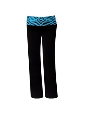Pizzazz 9150ZG -BLKTRQ-YXS 9150ZG Youth Roll-Down Waist Pants, Black with Turquoise Zebra - Extra Small