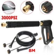 3000 PSI High Pressure Washer Gun Spray Gun with 20 Inch Extension Replacement Wand Lance, with 8M Pressure Washer Hose
