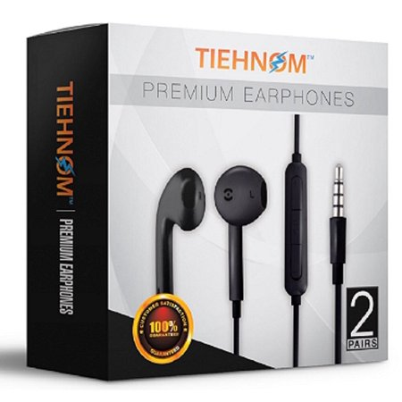 2- Pack Tiehnom Premium Earphones/Headphones/Earbuds with Microphone & Volume Control for iPhone, iPad, iPod, Android Smartphones, Samsung, Sony, Laptop, Music Players 2-COUNT (Black)