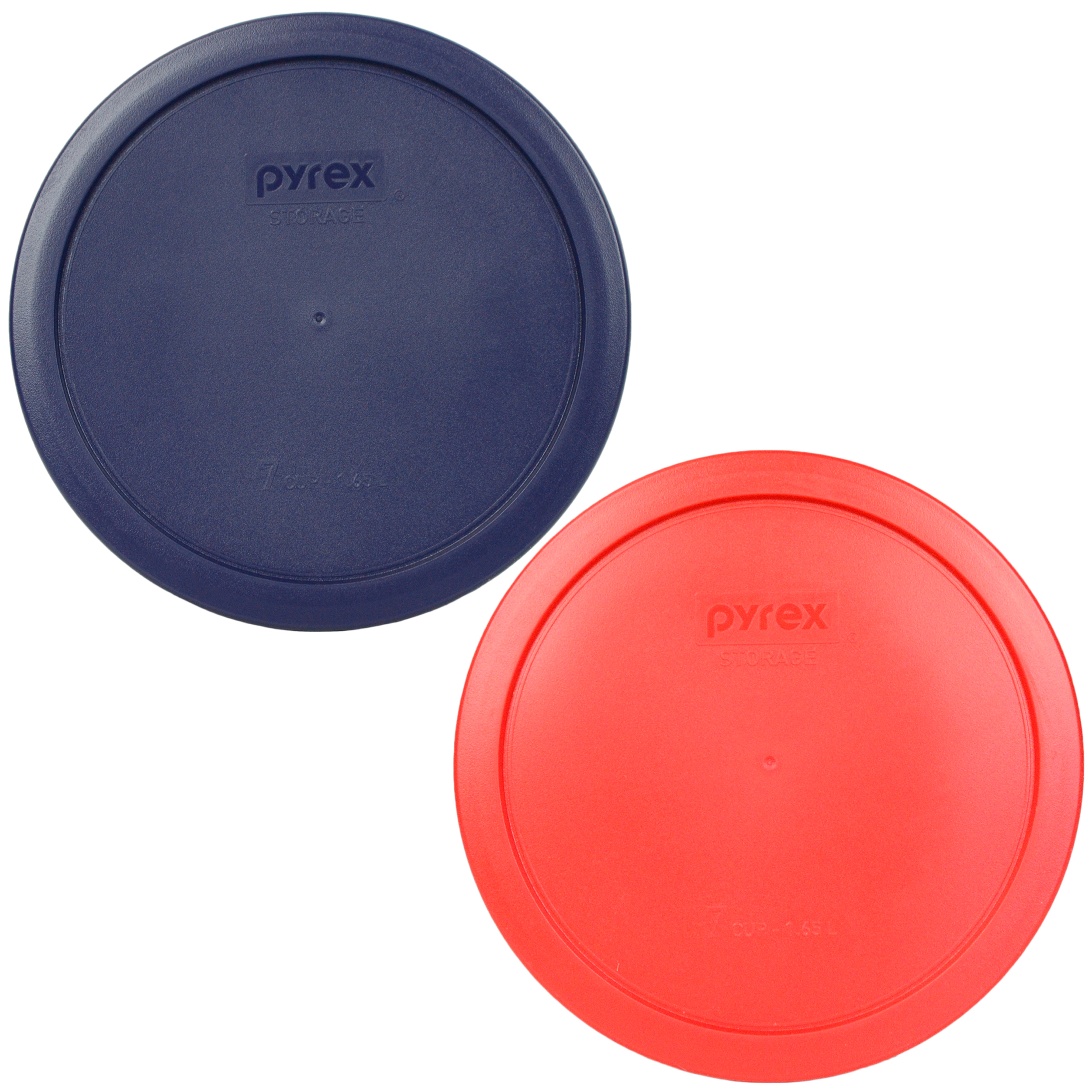 Pyrex Replacement Lid 7402-PC (1) Blue & (1) Red Round Cover for Pyrex 7402 6-Cup & 7-Cup Bowl (Sold Separately)