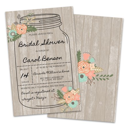 Blowout Invitation (Personalized Mason Jar Bridal Shower Invitations)