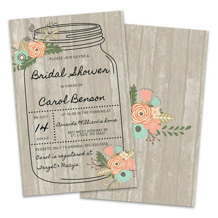 Personalized Mason Jar Bridal Shower Invitations - Wedding Shower Invites