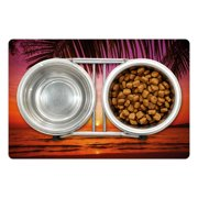 """Tropical Pet Mat for Food and Water, Exotic Sunset Above the Sea Scenery from Coconut Palm Tree Leaf Heaven Picture, Non-Slip Rubber Mat for Dogs and Cats, 18"""" X 12"""", by Ambesonne"""