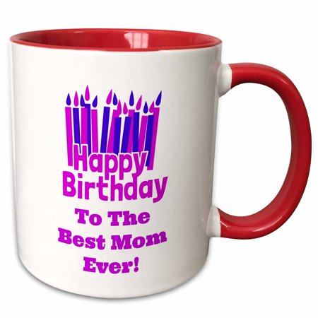 3dRose Happy Birthday - Best Mom ever - Two Tone Red Mug, (Best Mom Ever Birthday)