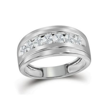 10kt White Gold Mens Round Diamond Wedding Band Ring 1.00 Cttw - image 2 de 2