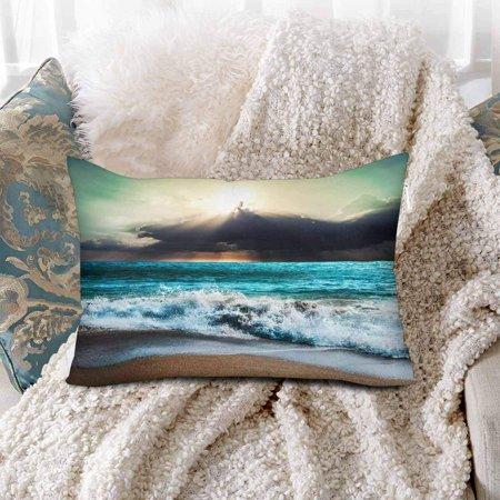 GCKG Sea Storm Landscape Beach Nature Sunbeam Ray Cloud Sky Beach Sunset  Sunrise Pillow Cases Pillowcase 20x30 inches