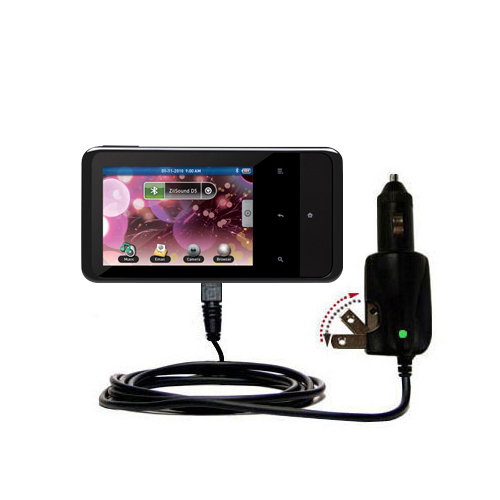 Gomadic Intelligent Dual Purpose DC Vehicle and AC Home Wall Charger suitable for the Creative ZEN Touch 2  -  Two critical functions, one unique charger  -  Uses
