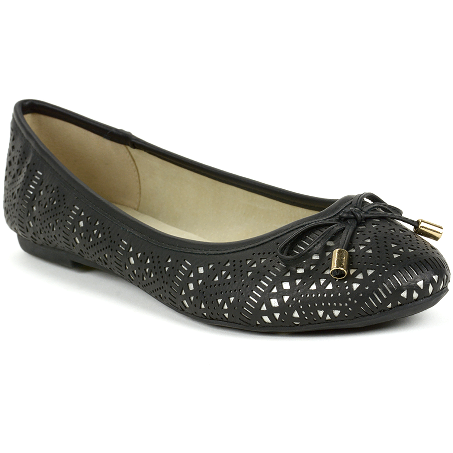 Alpine Swiss Botanic Women's Ballet Flats Lazer Cut Ballerina Bow Slip On Shoes