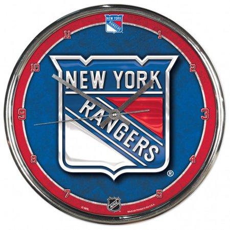 New York Rangers Team Clock - New York Rangers Round Chrome Wall Clock