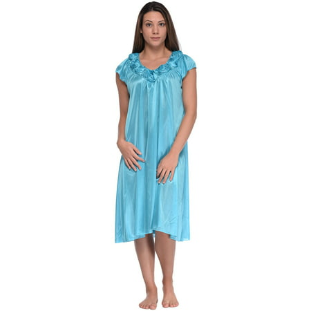 Roses Nightie (Casual Nights Women's Cap Sleeve Rose Satin Nightgown)
