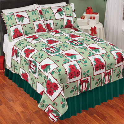 Holiday Christmas Fleece Bedding Coverlet, Holiday Colors, King by