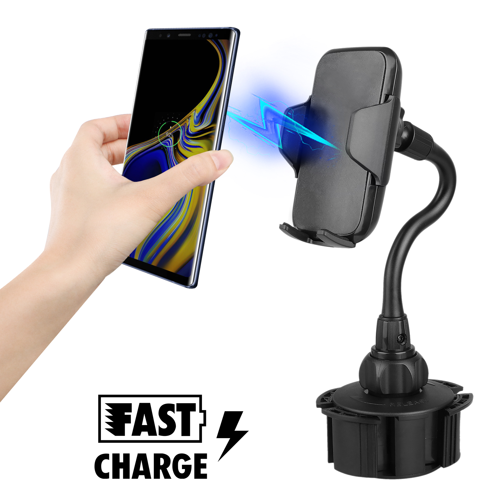 Universal Phone Wireless Charger Holder For Car Long Neck Cup Stand Cell Phone Mount Cradle For Mobile Phones Ipod Gps Including Iphone 11 11 Pro Xs Xr X 8 Plus Samsung Galaxy S10