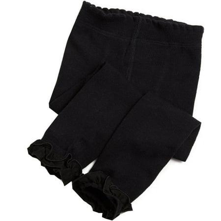 Jefferies Socks Little Girls Black Ruffle Trim Cotton Footless Tights