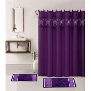 15 Piece Hotel Bathroom Sets 2 Non Slip Bath Mats Rugs Fabric Shower