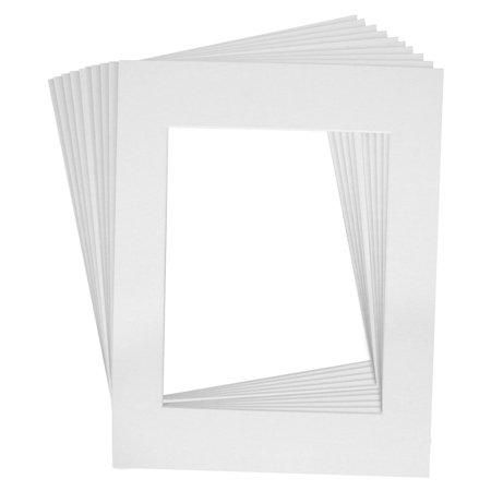 Crescent High Quality Pack of 10 11x14 WHITE White Core Picture Mats for 8x10 Photos