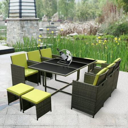 IKayaa 11PCS 10 Seater Rattan Patio Garden Dining Set Furniture Cushioned Outdoor  Dining TableiKayaa 11PCS 10 Seater Rattan Patio Garden Dining Set Furniture  . Outdoor Dining Table 10 Seater. Home Design Ideas