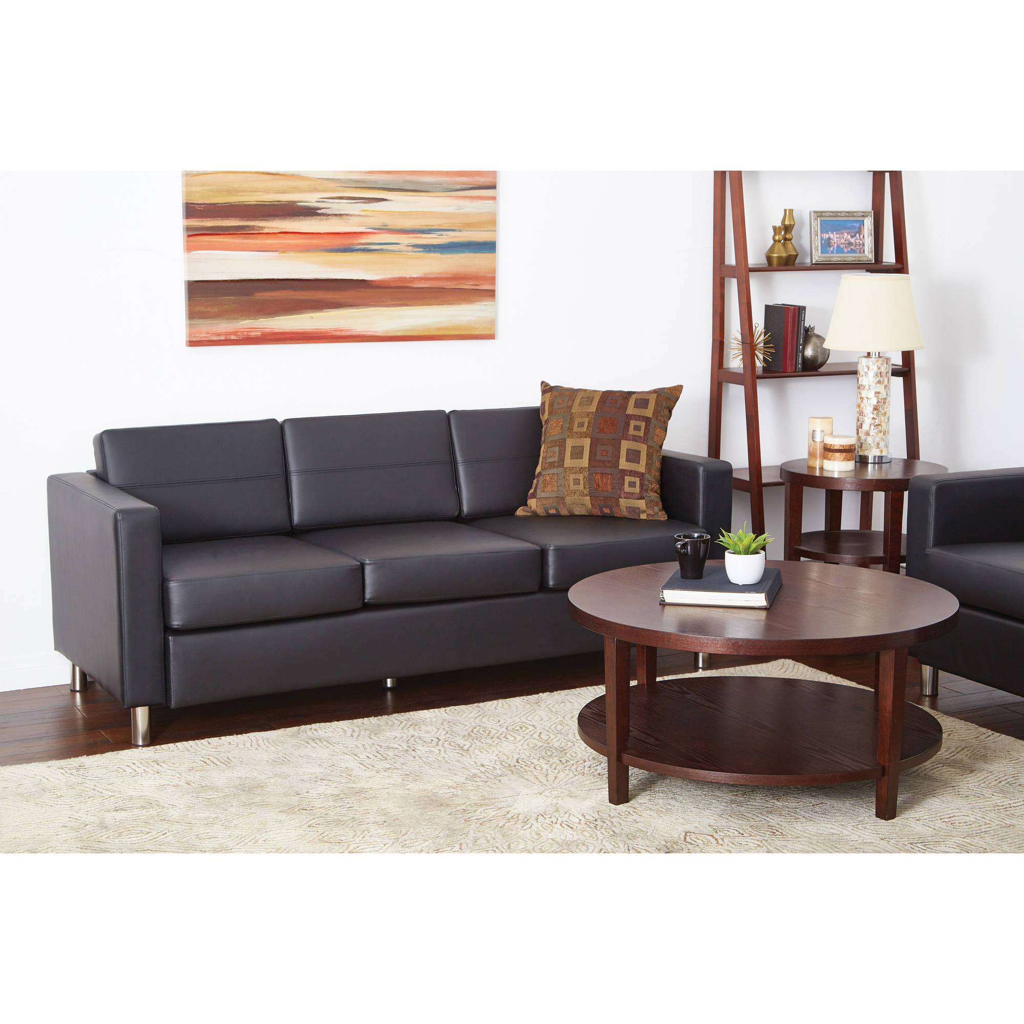 Ave Six Pacific Faux Leather Sofa Couch with Box Spring Seats