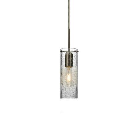 Besa Lighting 1JT-JUNI10CL-BR Juni 1 Light Bronze Pendant Ceiling Light in Clear Bubble Glass 1 Light Cord Pendant